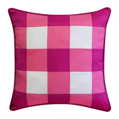 Edie at Home Outdoor Gingham Decorative Pillow, Pink