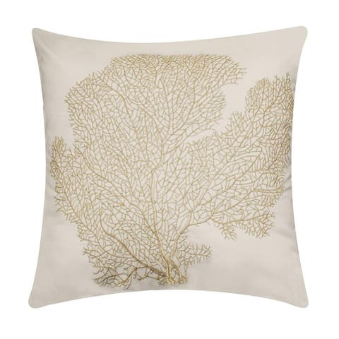 Edie at Home Embroidered Printed Coral Outdoor Pillow