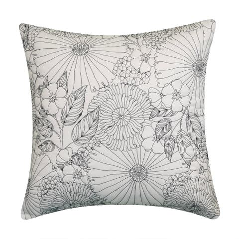 Edie At Home Fine Line Embroidered Floral 18x18 Indoor & Outdoor Decorative Pillow, Black