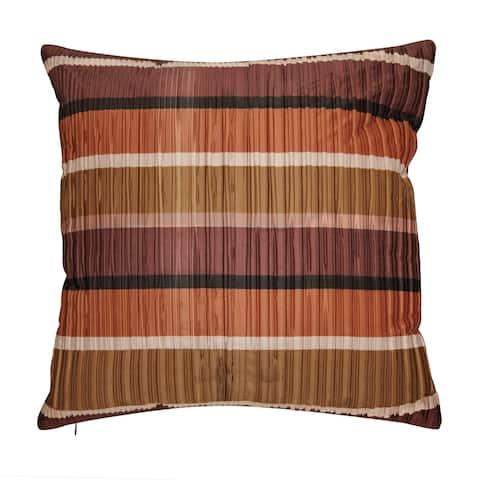 Edie at Home Jazzy Stripes Satin 19x19 Decorative Pillow, Dark Red