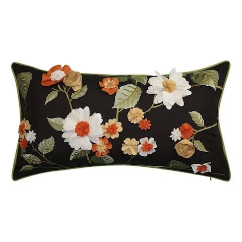 Edie at Home Dimensional Indoor & Outdoor Delightful Dahlia Lumbar Decorative Pillow, Black