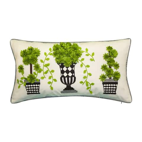 Porch & Den Kansas City Potted Topiary Pattern Outdoor Decorative Pillow