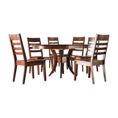 Furniture of America Gita Transitional Brown 7-piece Dining Set