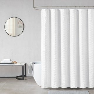 Link to Madison Park Quade Woven Clipped Solid Shower Curtain Similar Items in Shower Curtains