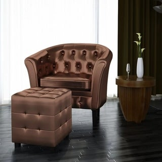 Artificial Leather Tub Chair Armchair with Footrest Brown