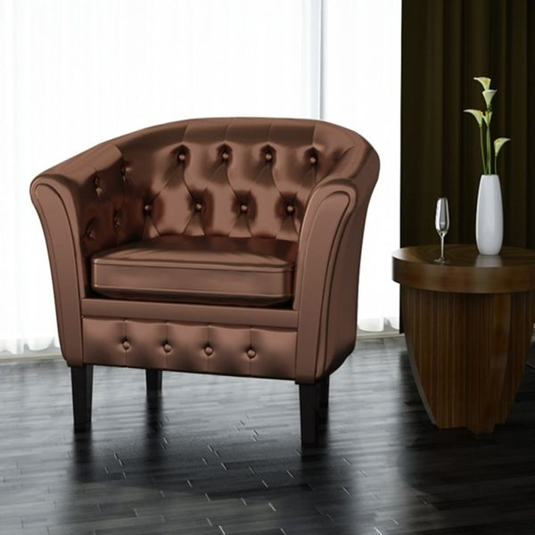 Artificial Leather Armchairs Tub Chair Brown