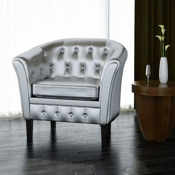 Artificial Leather Armchairs Tub Chair Silver