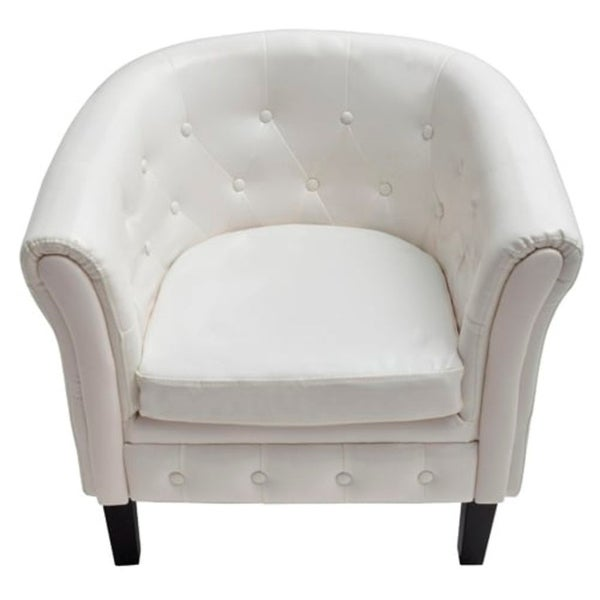 Artificial Leather Armchairs Tub Chair White