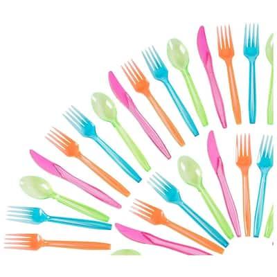 Plastic Silverware Set - 144-Piece Neon Cutlery in Green, Blue, Orange, and Pink