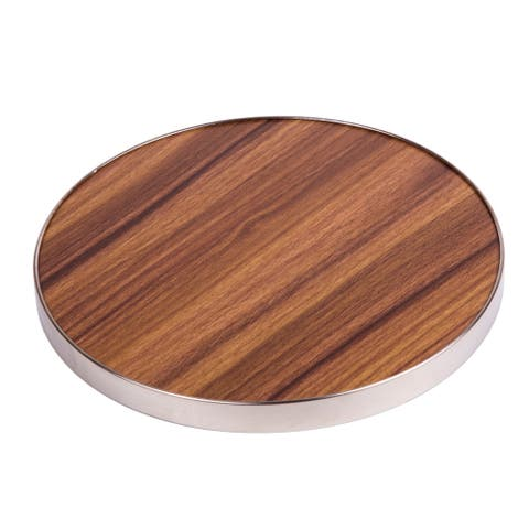 """Creative Home Fiber 7""""Round Trivet, Serving Board Acacia Wood Finish and Stainless Steel Trim"""