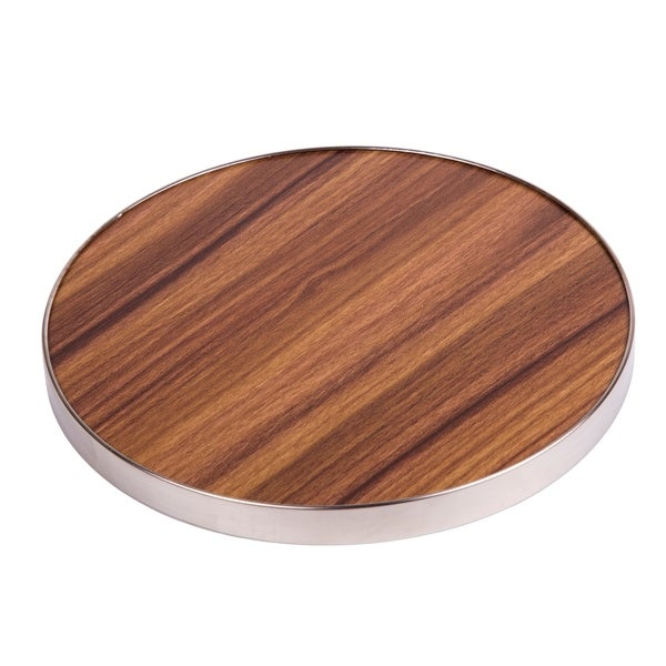 "Creative Home Fiber 7""Round Trivet, Serving Board Acacia Wood Finish and Stainless Steel Trim"