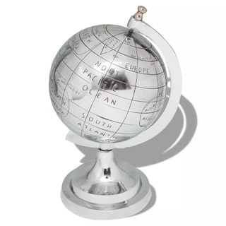 """Globe with Stand Aluminum Silver 13.8"""""""