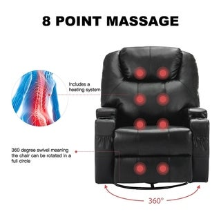Massage Recliner Chair, 360 Degree Swivel and Heated Recliner Bonded Leather Sofa Chair with 8 Vibration Motors