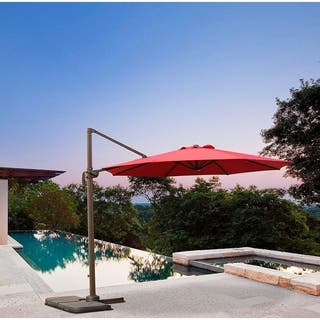 10 FT UV Protected Patio Cantilever Umbrella with Tilt and 360° Rotation.