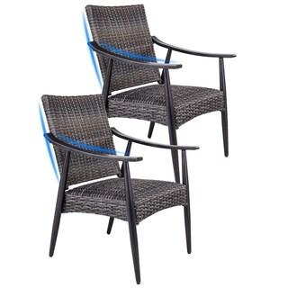 2 Pcs Patio Garden Wicker Dining Chairs