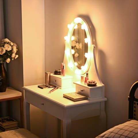 Vanity Makeup Dressing Table Set Lighted Mirror w/ Drawers & LED Bulbs