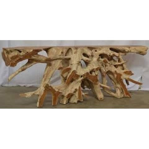 Lily's Living Rectangle Teak Root Console Table, 80 Inch Long, Natural Finish