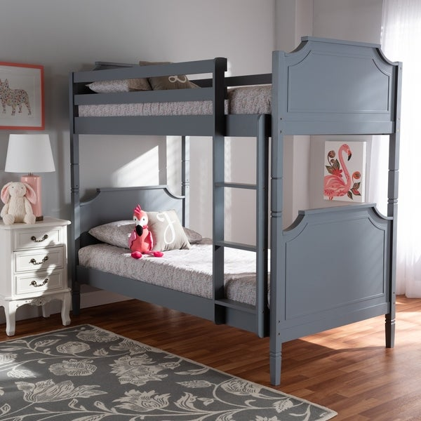 Mariana Traditional Transitional Grey Finished Wood Twin Size Bunk Bed