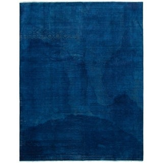 Hand-knotted Color transition Blue Wool Rug - 9'0 x 11'8