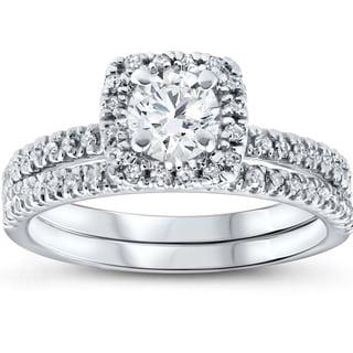 Link to 10k White Gold 1ct TDW White Diamond Cushion Halo Bridal Set Similar Items in Rings