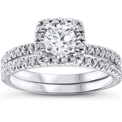 10k White Gold 1ct TDW White Diamond Cushion Halo Bridal Set