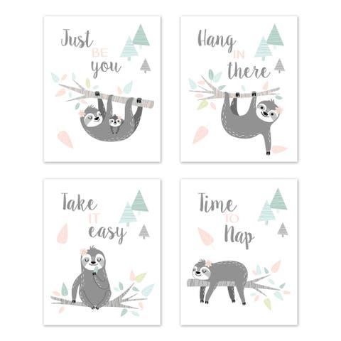 Sweet Jojo Designs Pink Grey Jungle Sloth Leaf Wall Decor Art Prints (Set of 4) - Blush Turquoise Gray Green Tropical Rainforest
