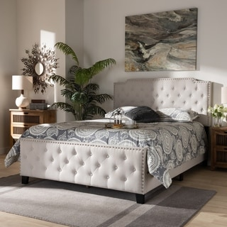 Link to Copper Grove Enzers Upholstered Button-tufted Panel Bed Similar Items in Bedroom Furniture