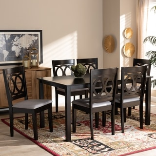 Lenoir Modern and Contemporary Upholstered Wood 7-Piece Dining Set