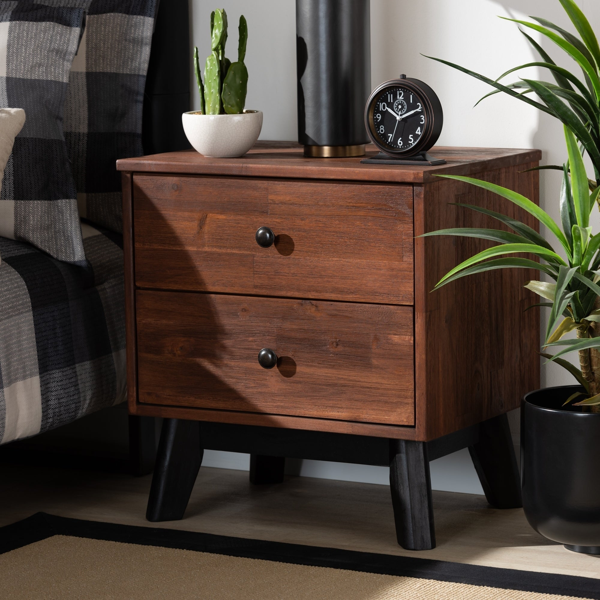Calla Modern And Contemporary Oak Finished 2 Drawer Wood Nightstand