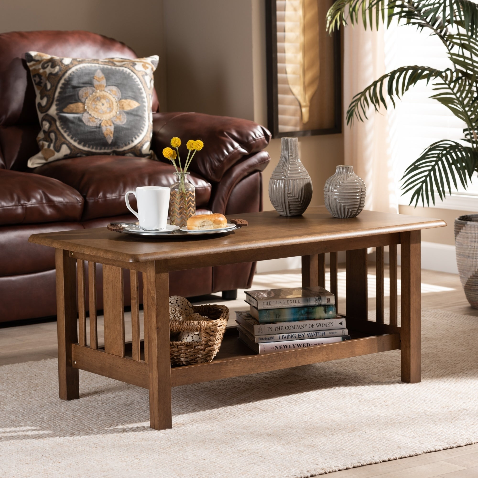 Rylie Traditional Transitional Mission Style Coffee Table