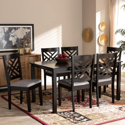 Caron Modern and Contemporary Upholstered Wood 7-Piece Dining Set