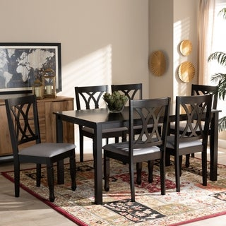 Reneau Modern and Contemporary Upholstered Wood 7-Piece Dining Set