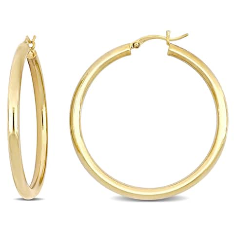 Miadora Yellow Plated Sterling Silver Tube Hoop Earrings (40 MM)