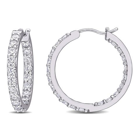 Moissanite by Miadora 10k White Gold 2 3/8ct TGW Moissanite Inside Outside Hoop Earrings