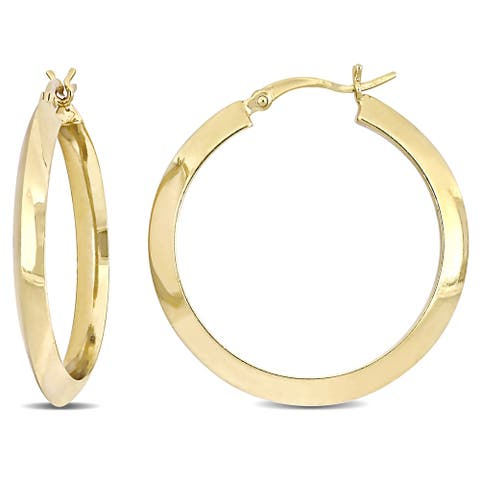 Miadora Yellow Plated Sterling Silver Knife Edge Hoop Earrings (30 MM)