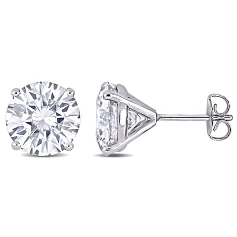 Miadora 5 1/2ct DEW Moissanite Solitaire Stud Earrings in 14k White Gold - 9 mm x 9 mm