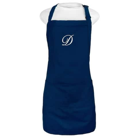 Kaufman Monogram FREE letter NAVY apron with two pockets
