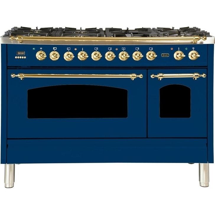 "Ilve  UPN120FDMPBLNG 48"" Nostalgie Series Dual Fuel Natural Gas Range, 5 cu. ft. Total Capacity, Brass Trim, in Blue"
