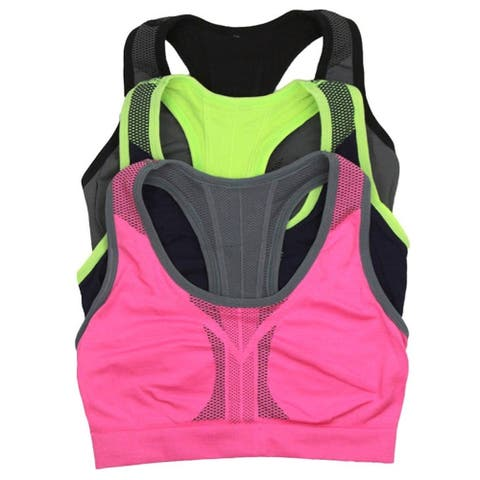 ToBeInStyle Women's Pack of 3 Reversible Double Layered Sports Bras - Large