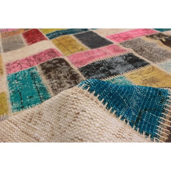 Shop Hand Knotted Color Transition Patchwork Multi Color Wool Rug
