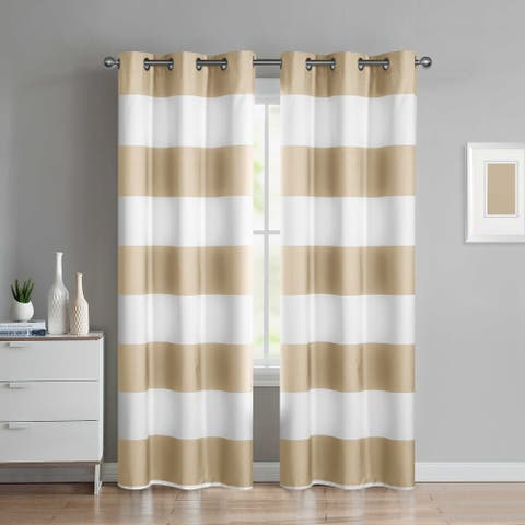 Porch & Den Sunnybrook Taupe Stripe Curtain Panel (Set of 2)