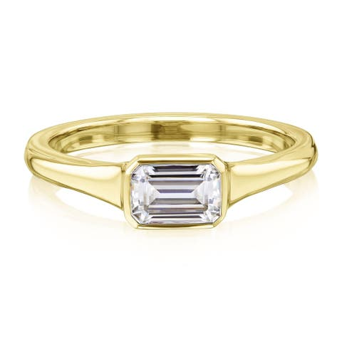 Annello by Kobelli 0.5 Carat Emerald Moissanite Solitaire Engagement Ring in 14k Gold (HI/VS)