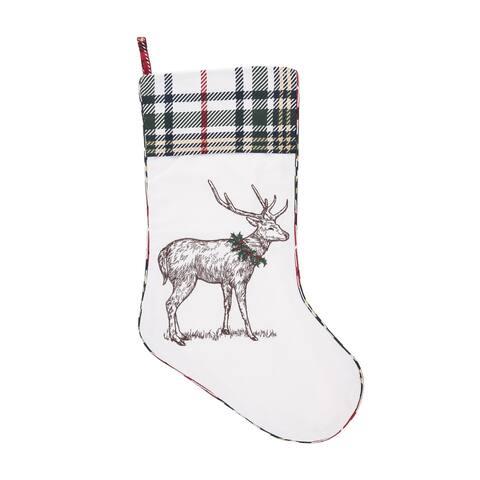 Holly Deer Stocking - 8.5 x 20