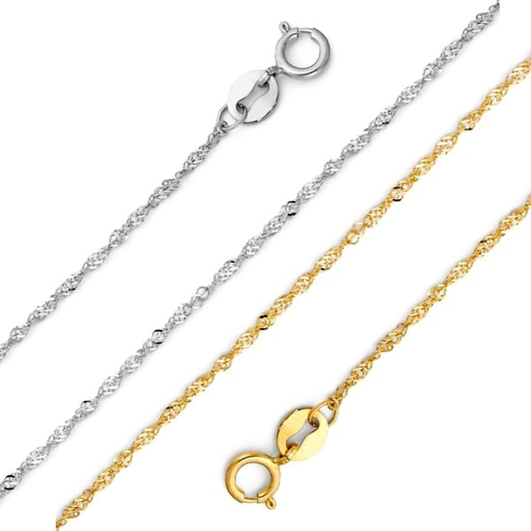 14kt White Gold Singapore Chain Necklace 1.15mm