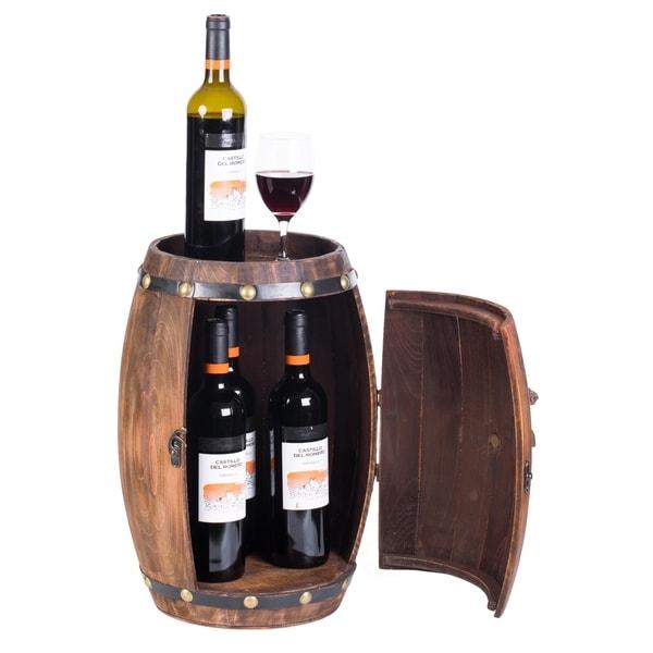 Wooden Barrel Shaped Vintage Decorative Wine Storage Rack