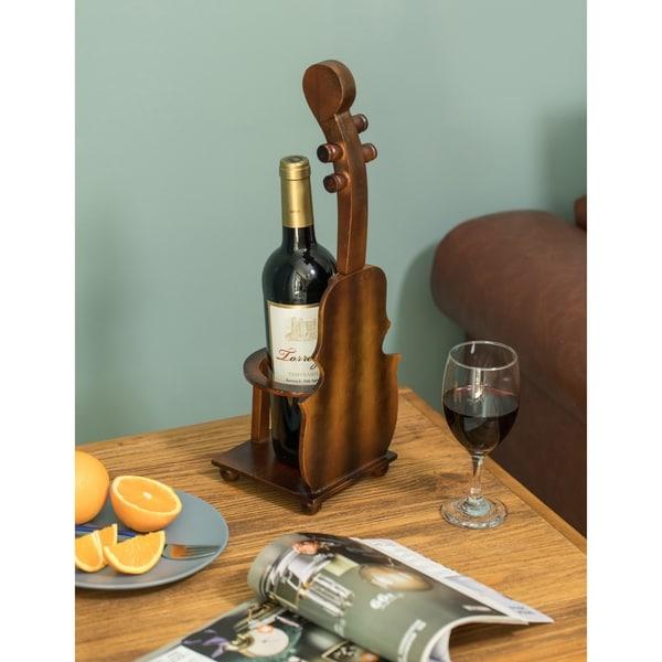 Brown Violin Cello Shaped Vintage Decorative Single Bottle Wine Holder