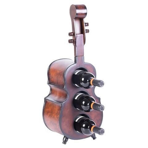 Wooden 3 Bottle Violin Vintage Decorative Wine Rack