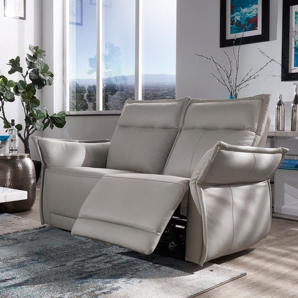 Lennon Grey Top Grain Leather Power Reclining Sofa or Loveseat by iNSPIRE Q Modern