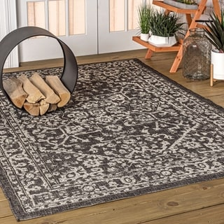 JONATHAN  Y Malta Bohemian Textured Weave Indoor/Outdoor Black/Gray Area Rug