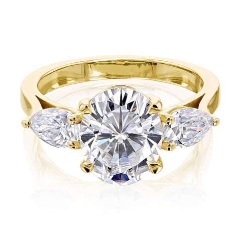 Annello by Kobelli 3.86ct TGW Three Stone Trellis X-Prong Oval and Pear Moissanite Engagement Ring in 14k Gold (GH/VS)